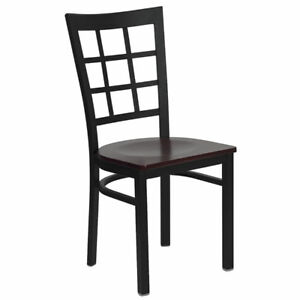 Lot Of 20 Metal Window Back Restaurant Chairs With Mahogany Seats