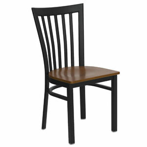 Metal School House Back Restaurant Chair With Cherry Wood Seat