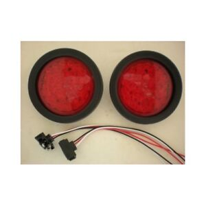 4 Round Red 36 Led Trailer Truck Brake Stop Turn Tail Light Kits
