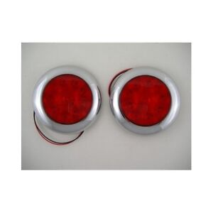 Red 10 Led 4 Round Surface Mount Stop Turn Brake Tail Lights Chrome Bezel