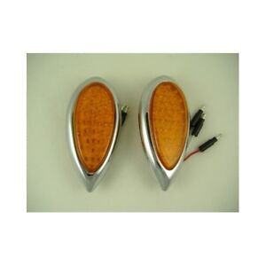 Amber Led Tear Drop Hot Rod Classic Antique Marker Running Turn Signal Lights