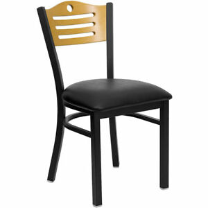 Lot Of 20 Metal Restaurant Chairs With Wood Slat Back Design Black Vinyl Seat