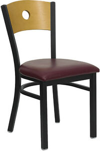 Lot 20 Metal Restaurant Chairs W Wood Circle Back Design Burgundy Vinyl Seat