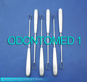 6 Sims Uterine Curettes 6 Sharp Blade Ob gyn Surgical Instruments