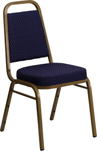 Lot 40 Thickly Padded Navy Blue Fabric Banquet Stack Chairs With Gold Frame