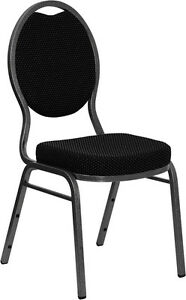 Lot 40 Black Patterned Fabric Teardrop Back Silver Frame Banquet Stack Chairs