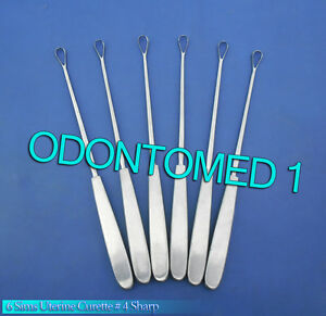 6 Sims Uterine Curettes 4 Sharp Blade Ob gyn Surgical Instruments