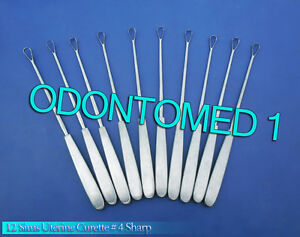 12 Sims Uterine Curettes 4 Sharp Blade Ob gyn Surgical Instruments