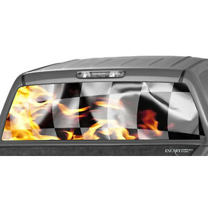 Flaming Checkered Racing Flag Flame Rear Window Graphic Decal Truck Pickup Dodge