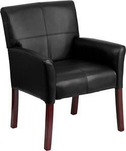 Lot Of 4 Black Leather Guest Reception Area Side Chairs