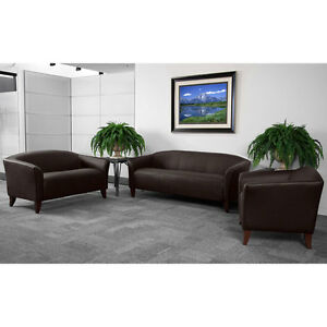 Brown Leather Office Sofa Reception Area Seating Set
