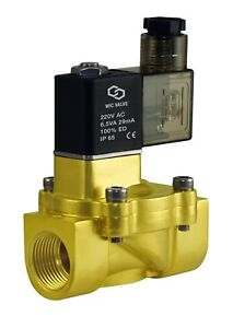 3 4 Brass Electric Water Solenoid Process Valve Low Power Consumption 220v Ac