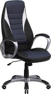 Lot Of 10 High Back Black Vinyl Executive Office Chairs With Blue Mesh Insets