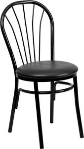 Metal Frame Fan Back Restaurant Chair With Black Vinyl Seat