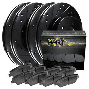 Full Kit Black Hart Drill Slot Brake Rotors Pad Lexus Is250 2006 2008