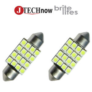 Jtech 2 X 36mm 1 50 16 Smd Super Bright White Led Bulb 6411 6413 6418 C5w