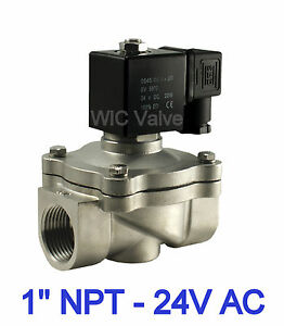 1 Stainless Pneumatic Air Water Electric Solenoid Valve Normally Closed 24v Ac