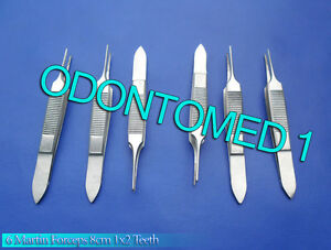 6 Martin Forceps 8cm 1x2 Teeth Surgical Opthalmic Instruments