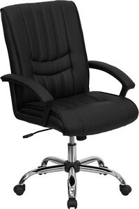 Lot Of 20 Black Leather Mid Back Conference Table Or Office Desk Chairs