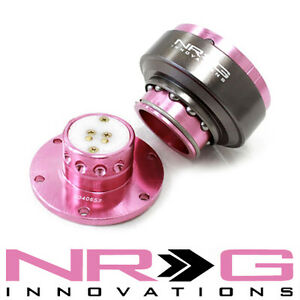 Nrg 2 0 Gen Steering Wheel Quick Release Hub Pink Titanium Chrome Ring