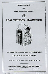 International Ihc Low Tension Ignitor Magneto Gas Engine Hit Miss Manual Book