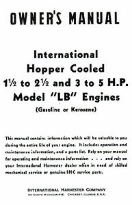International Lb 1 5 2 5 3 5 Hp Gas Engine Motor Book Manual Hit Miss La Ihc
