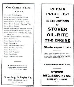 Stover Ct 2 Gas Engine Instruction Book Manual Hit Miss Wico Ek Motor Parts List