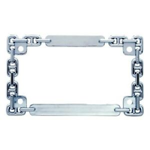 Chrome Metal Chain Motorcycle Bike License Plate Tag Frame Holder Harley Honda