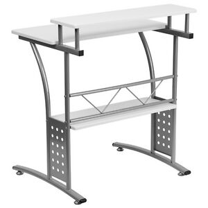 Clifton White Computer Desk Raised Top Shelf
