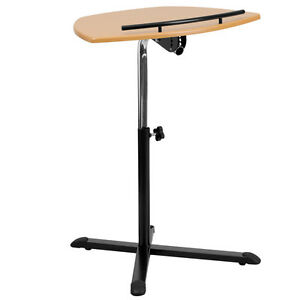 Height Adjustable Cherry Laptop Computer Desk Portable Stand Curved Work Surface