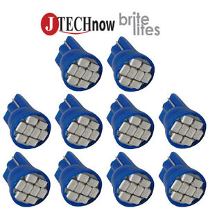 10x T10 8 smd Blue Led Bulb Interior Instrument License W5w 194 168 2825 158