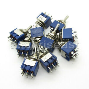 100 X Mini Toggle Switch Dpdt On off on 3 Position Blue 6a 125v 3a 250v Mts 203