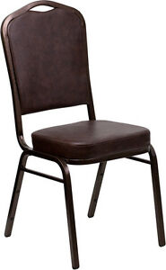 Lot 100 Crown Back Stacking Banquet Chairs With Brown Vinyl Copper Vein Frame