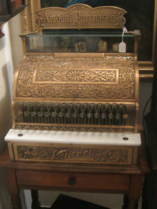 Antique National Cash Register Ornate Brass With Original Top Sign