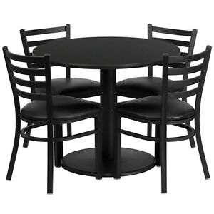 36 Round Black Laminate Restaurant Table Set With 4 Metal Ladder Back Chairs
