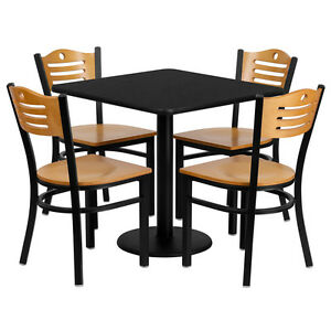 Restaurant Table Chairs 30 Square Black Laminate With 4 Wood Slat Back Metal