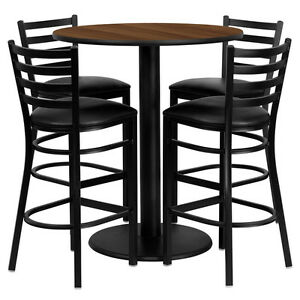 Restaurant Table Chairs 36 Walnut Laminate With 4 Ladder Back Metal Bar Stools