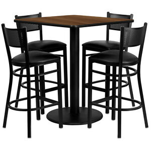 Restaurant Table Chairs 36 Walnut Laminate With 4 Grid Back Metal Bar Stools
