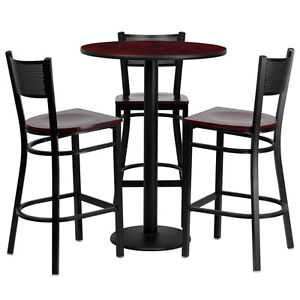 Restaurant Table Chairs 30 Mahogany Laminate With 3 Grid Back Metal Bar Stools