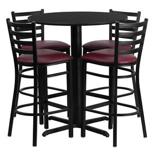 Restaurant Table Chairs 30 Black Laminate With 4 Ladder Back Metal Bar Stools