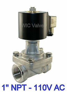 Stainless Electric Solenoid Steam Valve Normally Closed 1 Inch 110v Ac Ptfe Seal