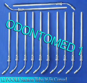12 Poole Suction Tube 16 Fr Curved Surgical Medical Instruments