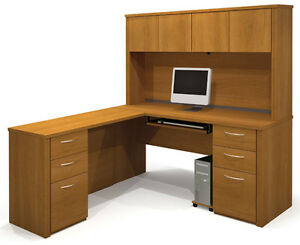 Bestar Embassy L Shaped Office Desk With Hutch Cappuccino Cherry Finish