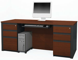 Bestar Prestige Bordeaux Graphite Executive Desk With Assembled Pedestals
