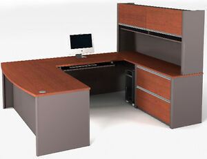 Bestar Connexion U Shape Shape Office Desk W Bordeaux Slate Finish