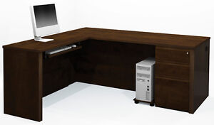 Bestar Prestige L Desk In Chocolate With Keyboard Shelf 99879 1469