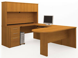 Bestar Embassy Cappuccino Cherry Executive U Shaped Office Desk W Hutch