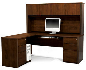 Bestar Prestige L Shape Desk With Hutch In Chocolate 99877 1669