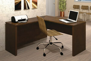 Laminate Chocolate Finish Reversible L Shape Office Desk