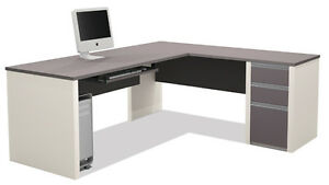 Laminate L Shape Office Desk With Keyboard Tray In Sandstone Slate Finish